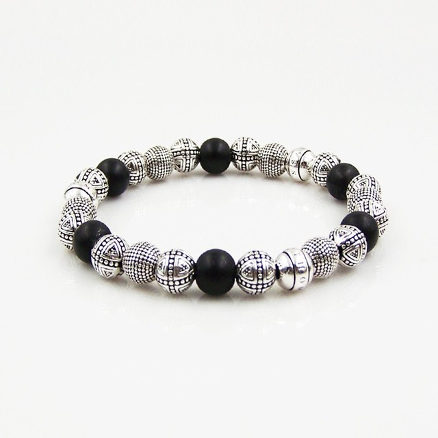 Thomas Style DIY Black Matte Obsidian Cross Bead Bracelet,European Jewelry Perak Rope Chain Natural Stone Bijoux,Christmas Gift