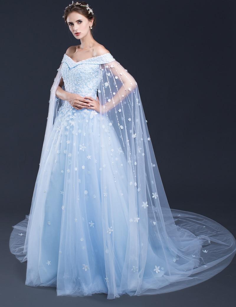 2017 Light Blue Wedding Dresses Off The Shoulder Lace Tulle Applique ...