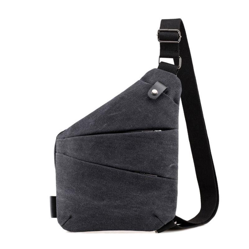 New Fashion men bag Sling Casual Canvas Chest Bag Simple Single Shoulder Bag for Men Anti Theft Crossbody Bags(Black)