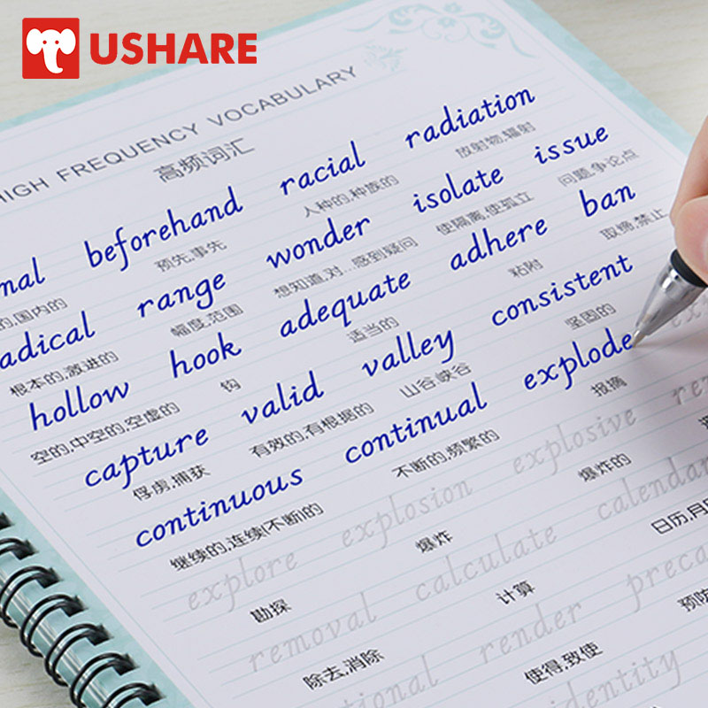 USHARE 4pcs/set Calligraphy Books English Copybook For Kids English Groove Practice Copybook For Calligraphy Auto Fades Reused