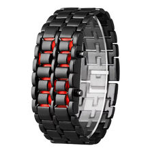 Sanwony New Iron Samurai Metal Bracelet LAVA Watch LED Digital Watches Hour Men Women smart watch men sim card wristwatch(China)