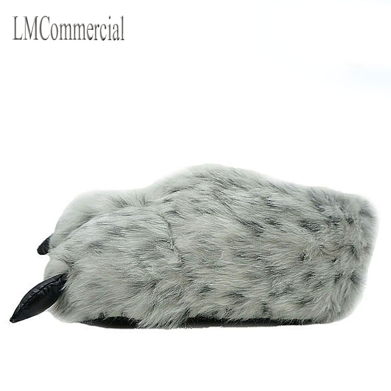 Indoor Slippers Warm winter home slippers / paws leopard claw claw Plush bag with cotton slippers and shoes (white spots). l duchen grace d 791 14 34