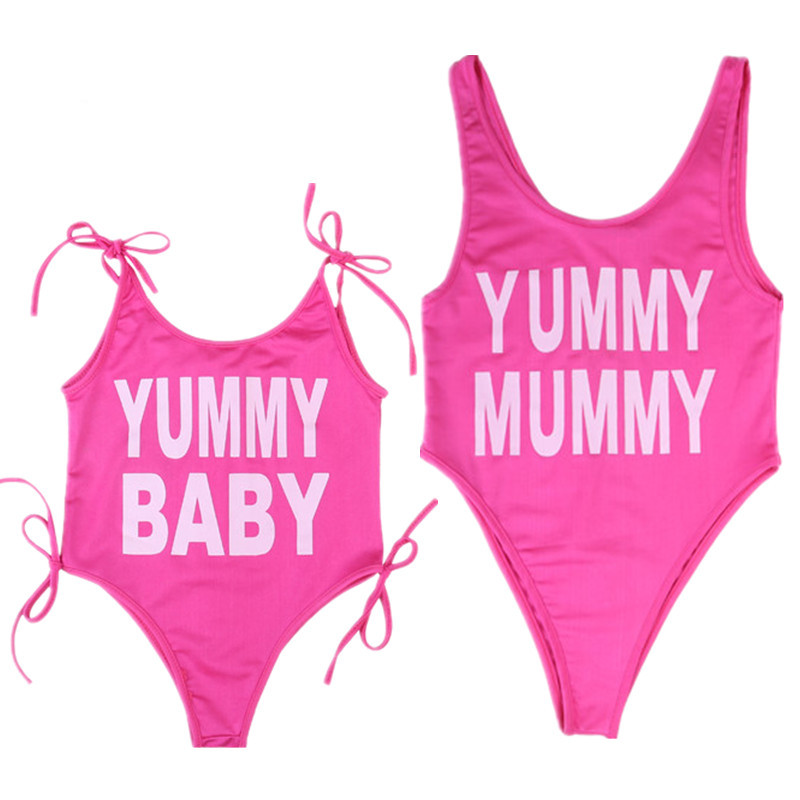 Sexy Womens One Piece Swimsuit Family Matching Swimwear Suit Push Up Bikini Gilrs Beach Wear Mother And Daughter Clothes