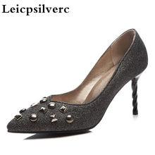 07e6294b81 Moda europeus e Americanos nova primavera rebite salto fino de salto alto  mulheres solteiras sapatos(