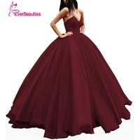 Elegant Evening Dress Long 2018 Tulle Women's Ball Gown Sweetheart Prom Party Dress Abiye Robe De Soiree