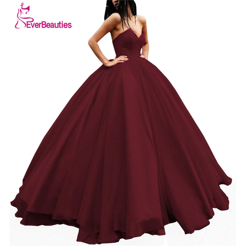 Elegant   Evening     Dress   Long 2019 Tulle Women's Ball Gown Sweetheart Prom Party   Dress   Abiye Robe De Soiree