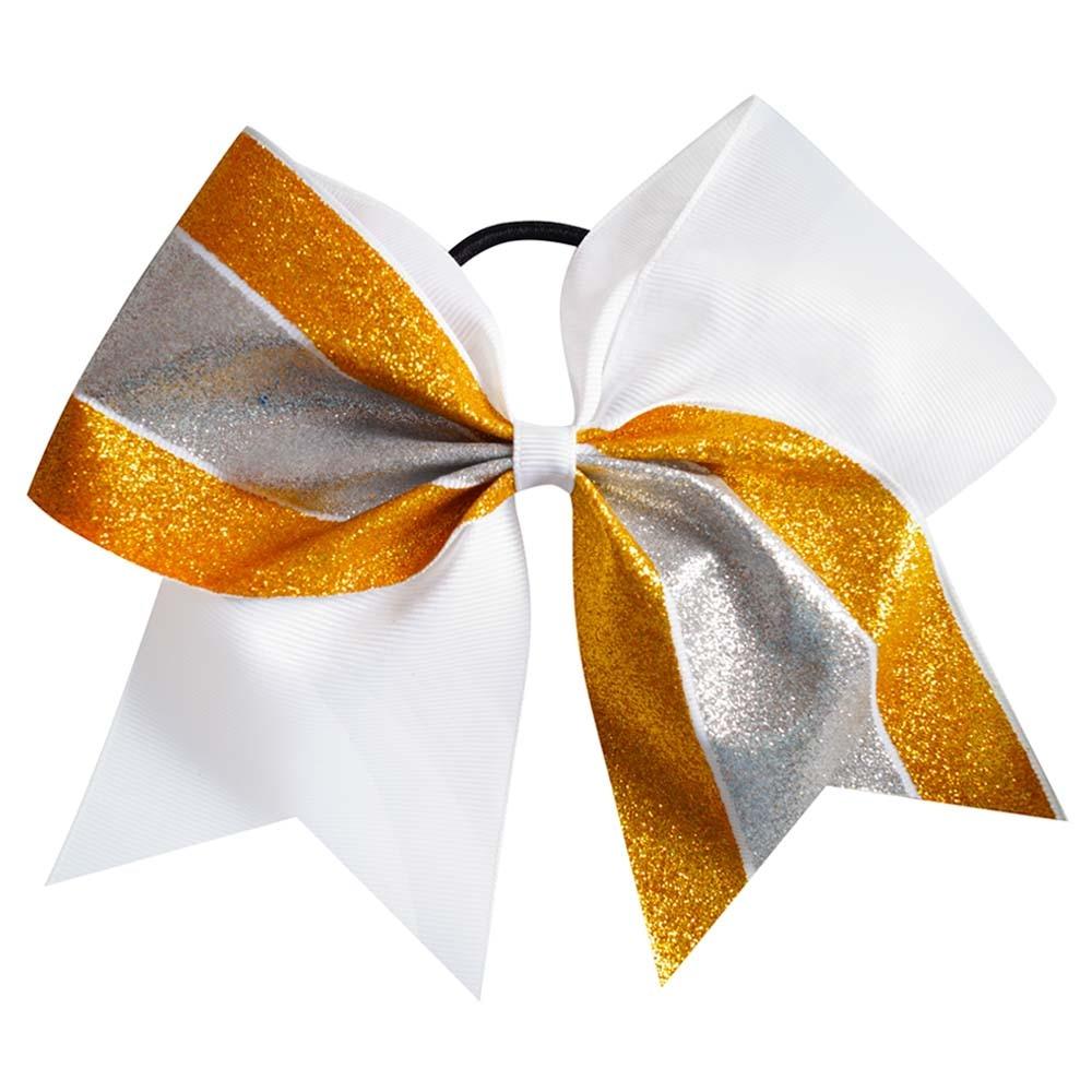 Ha hair bow ribbon wholesale - 6pcs Lot Fashion Gold Silver Glitter Large Ribbon Cheer Hair Bow With Black Rubber Bands