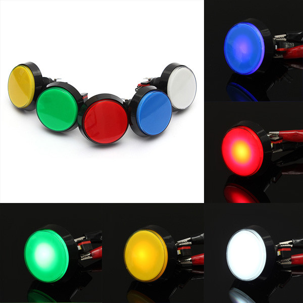 1pc 60mm LED Light Big Round Arcade Video Game Player Push Button Switch Lamp PR