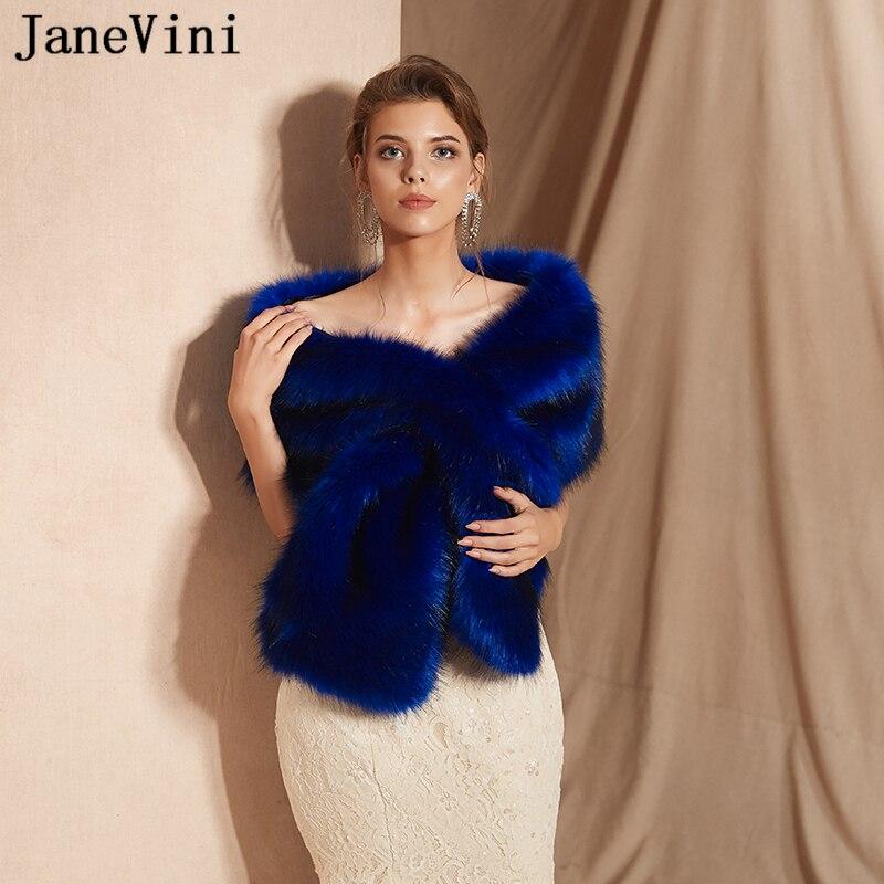 JaneVini Fashion Royal Blue Winter Faux Fur Shawl Bridal Wrap Cloak Women Bolero Fourrure Shrug Warm Outwear Wedding Accessories