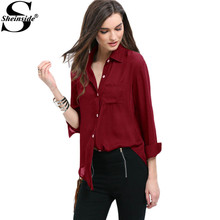 Burgundy Hem Pocket Long Sleeve Shirt for Women