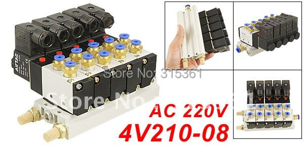 Free Shipping 10Sets/Lot Pneumatic AC 220V Quadruple Solenoid Valve w Base Push In Connectors Silencers 5 Stations free shipping dn25 pneumatic angle valve mounted with proximity switch and solenoid valve g1