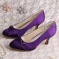 Super Quality Purple Satin Closed Toe Autumn Bridal Shoes with Heels Women Pumps Dropshipping