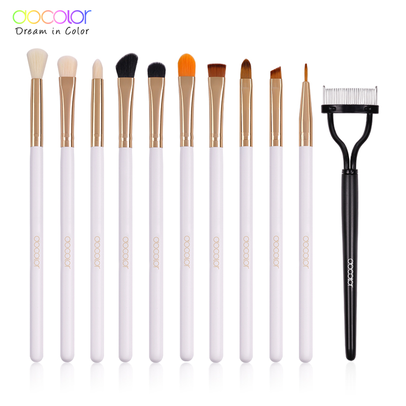 все цены на Docolor 11Pcs/Sets Eye Shadow Concealer Eyebrow Lip Brush Makeup Brushes Eyelash Comb Cosmetic Tools Make Up Eye Brushes Set