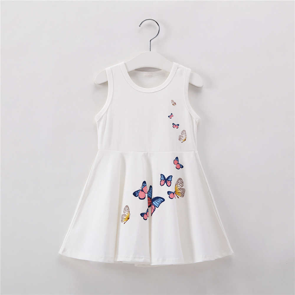 Детские платья для девочек от 2 до 7 лет Летнее белое платье принцессы на день рождения одежда из хлопка для малышей Детское платье без рукавов с бабочкой, одежда