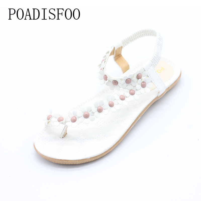POADISFOO 2017 New Summer Bohemian Women Sandals Slippers For Women Shoes Flip Folder Toe Flat Shoes With Flower .DFGD-669 poadisfoo 2017 new summer style slip on women sandals flats for women black white color slippers shoes women hykl 1603