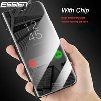Essien Smart Chip Flip Clear Mirro Cover Case For Samsung Galaxy S8 Plus S8 S7 S6