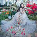 Señora three manga del cuarto de verano malla perspectiva dress 2017 primavera nueva elegante dress ahueca hacia fuera el bordado atractivo de las mujeres vestidos