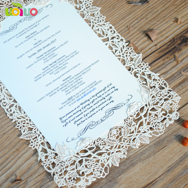 Paper Laser Cutting Invitation Cards Rose Lace Design European Wedding Menu