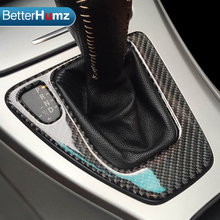 Para bmw e90 e92 guarnição interior do painel de controle de deslocamento de engrenagem fibra carbono capa etiqueta lhd rhd estilo do carro 3 série acessórios