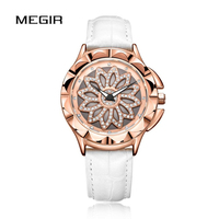 MEGIR Women Watch Petal Dial Wrist Watch Waterproof Graceful Leather Colorful Fashion Watch Luxury Clock Reloj часы женские