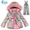 Crianças Meninas Roupas de Inverno 2016 Da Marca de Luxo FleeceWinterJacket 3--8 Idade Para Baixo Grossa Quente Com Capuz De Pele Jaqueta + Calças de Esqui Terno