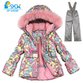 Kids Girls Winter Clothes 2016 Luxury Brand 3--8 Age Down Thick Warm FleeceWinterJacket Fur Hooded Jacket + Trousers Ski Suit
