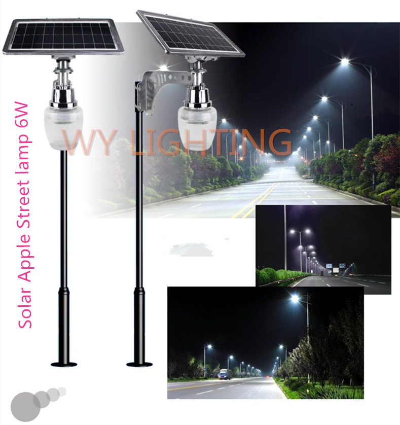 6W solar powered led street light with 10W solar panel/intergrated outdoor lighting garden light sensor yard path solar lamp solar powered 6w 100 led rgb light water resistant flexible tube light white black