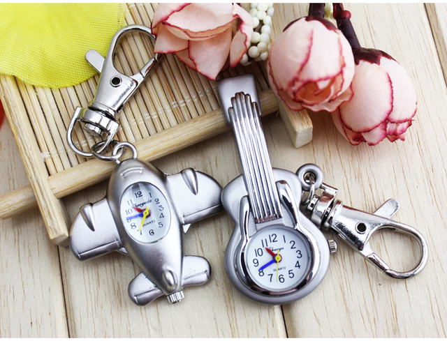 Bronze Men Women Guitar Shape Quartz Pocket Watch plane Retro Key chain Pendant