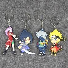 Cute 4pcs/lot Naruto Kakashi Sakura Sasuke Naruto PVC action figure Model Toy Pendant KeyChain Doll Toy