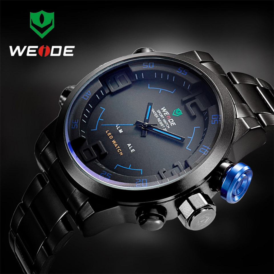 Top Brand WEIDE Watch Men Stainless Steel Digital Watch Sports Wristwatch LED Quartz Military Wrist Watches Relogio Masculino weide new men quartz casual watch army military sports watch waterproof back light men watches alarm clock multiple time zone