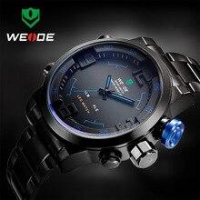 Weide relógio de pulso aço inoxidável digital, esportivo led quartzo militar relógios de pulso relógio masculino