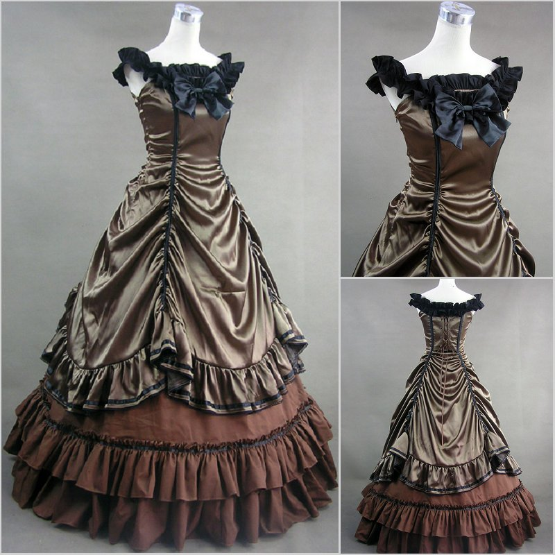 Victorian Lolita Stain Blue Fancy Dress Ball Gown Prom cosplay Costume