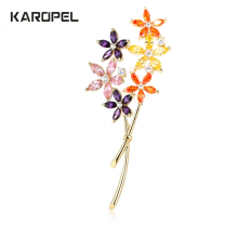 Luxury Zircon Crystal Brooches Flower for Women Gold Color CZ Pins Jewelry