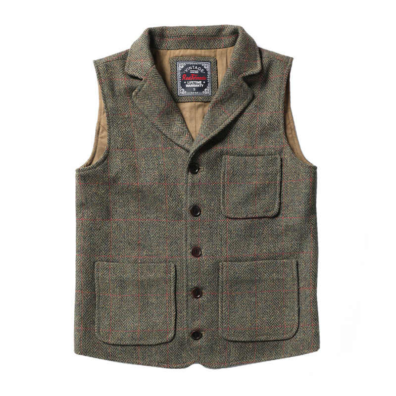 MJ-0003 Read Description! Asian size vintage 70% wool vest 480 GSM mens casual vest