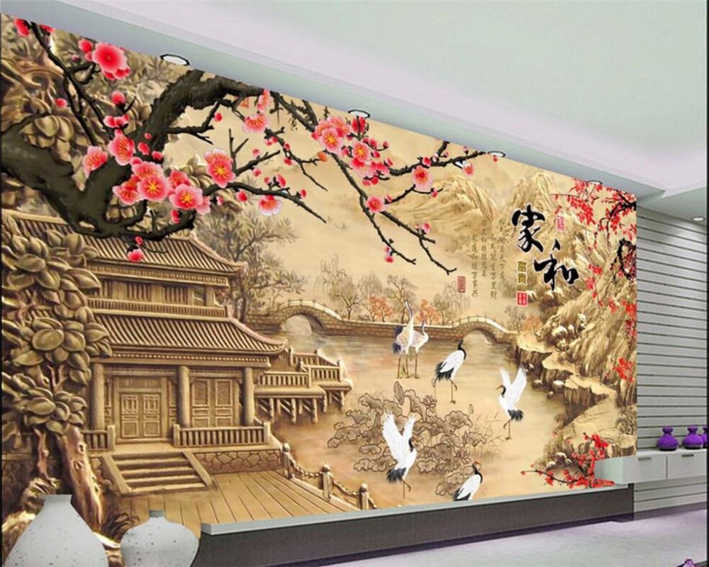 Custom wallpaper home and wealthy crane, 3D photo wallpaper mural bedroom living room TV wall 3D wallpaper Beibehang
