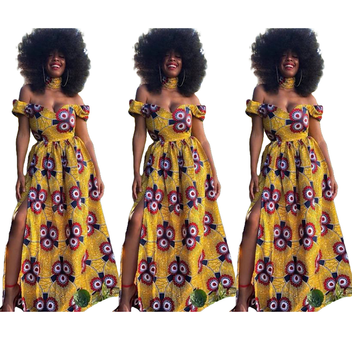 2019 New Summer Sexy Fashion Style African Women Printing Polyester Plus Size Long Dress S-XL