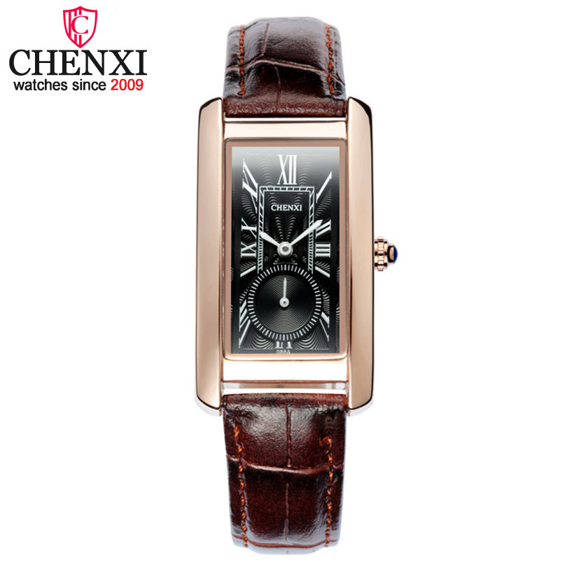 Fashion CHENXI Brand Women Leather Watch Rectangular Dial Independent Female Casual Watches Ladies Gifts Quartz WristWatch chenxi brand casual couple watch gold square quartz small dial work watches for men women with quality leather strap pengnatate