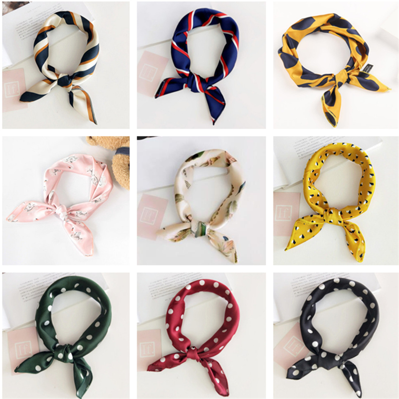 47cm Square Stylish Multi-colors Printed Silk Scarves Scarf Necktie Kerchief Hairband Headscarves Hair Jewelry For Women