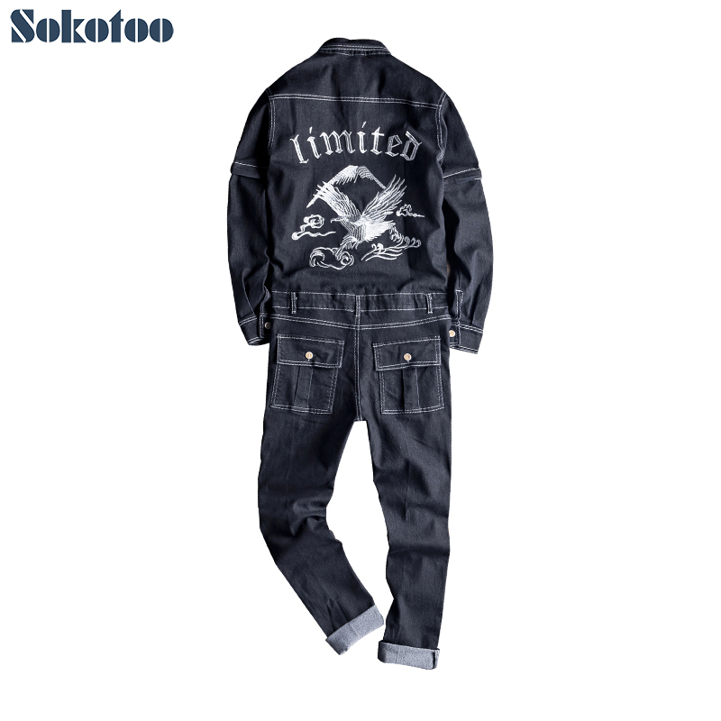 Sokotoo Men's embroidery long detachable sleeve black denim jumpsuits Casual embroidered pockets cargo   jeans   Overalls pants
