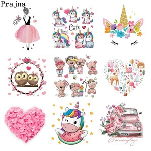 Prajna Cute Animal Stickers On Clothes Unicorn Patch Skull Love Heart Heat Transfer Patches For Clothing DIY T-shirt Thermal