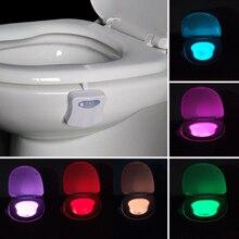 8 Cores LED Noite Lâmpadas de Luz Sensor de Movimento Ativado Banheiro Higiênico Vaso Sanitário Luzes Luz Da Noite Criativo