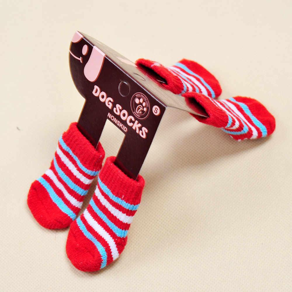 Новые популярные милые модные домашние животные Носки для собак 4 шт. милые носки для щенков и собак Нескользящие нескользящие носки высокого качества @ 4