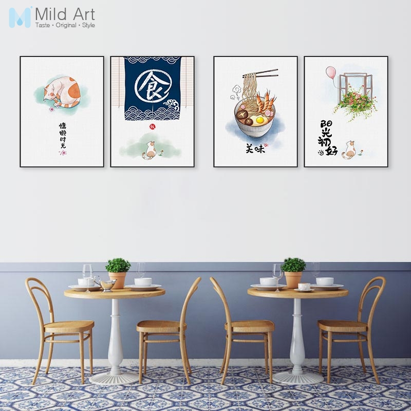 Kitchen Wall Painting Designs: Kawaii Cat Chinese Food Quotes Posters Prints Japanese