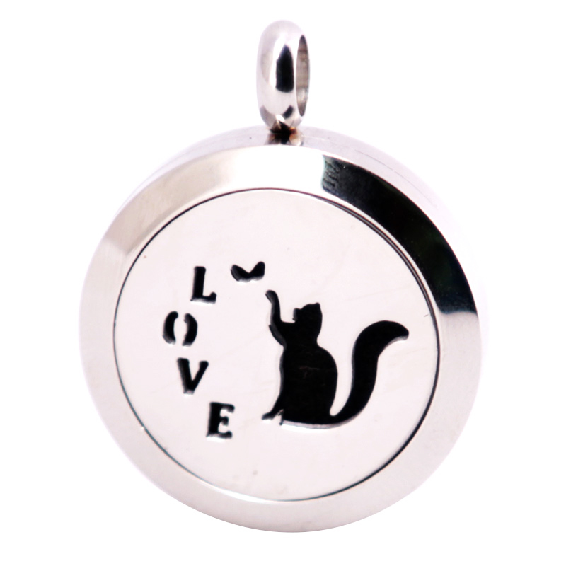 316L Stainless Steel 25mm Love Cat Necklace Pendant Aroma Essential Oil Diffuser Lockets Send 10pcs Felt Pads as Gift