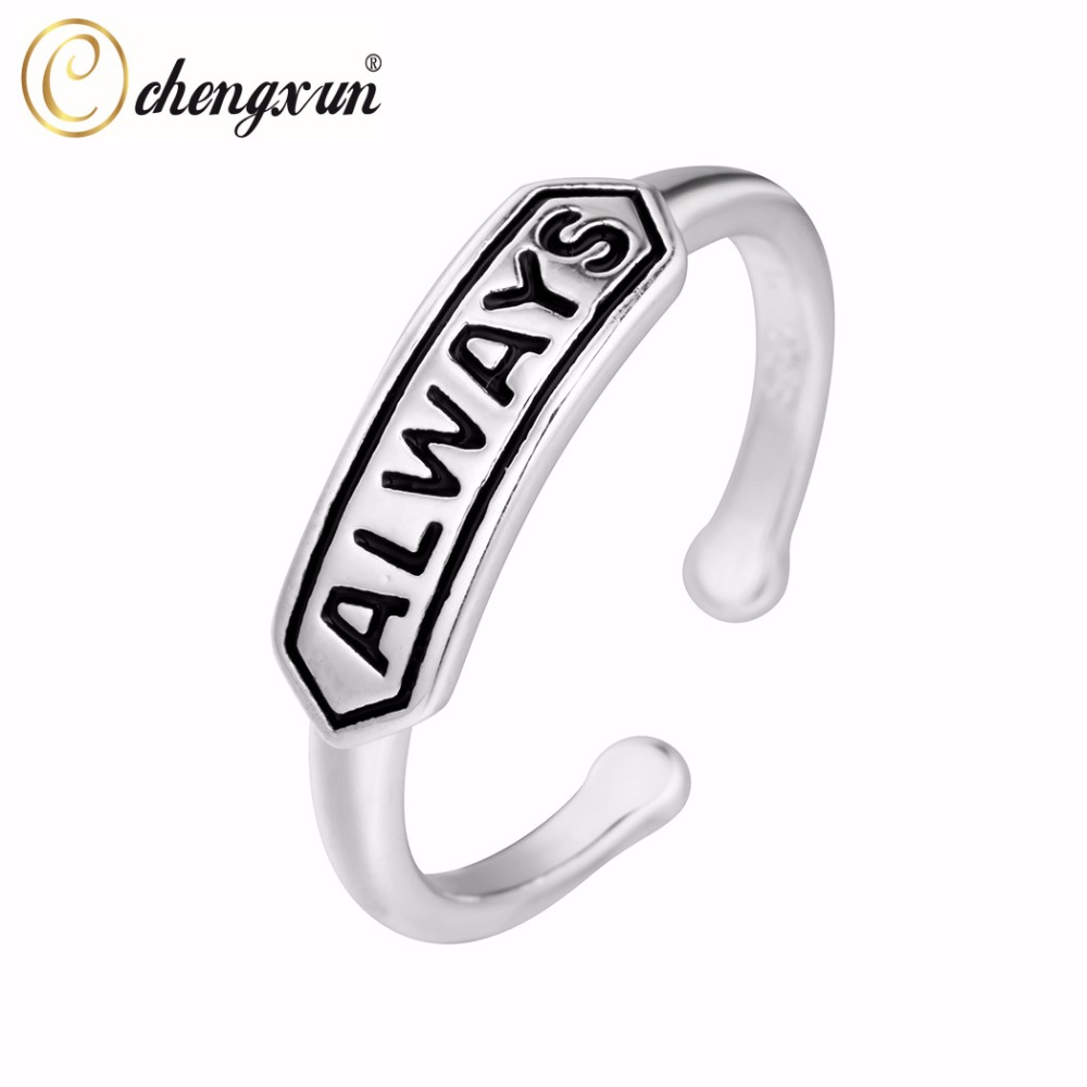 Chengxun Silver Wedding Party Rings For Women Always Letter Carved