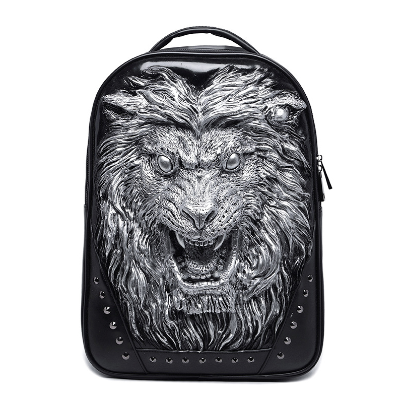 Men Backpack 3D Lion Design Waterpoof Leather Teenager Bags For Boy Rivets Laptop Bagpack Mochila Travel Bolsas School BackpackMen Backpack 3D Lion Design Waterpoof Leather Teenager Bags For Boy Rivets Laptop Bagpack Mochila Travel Bolsas School Backpack