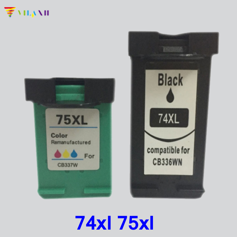 2pc Vilaxh compatible Ink Cartridge replacement for hp 74xl 75xl Photosmart C4200 C4280 C4380 C4480 C4580 Officejet J5780 J6480 in Ink Cartridges from Computer Office