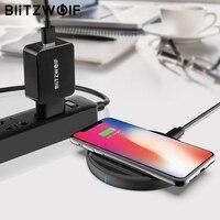 BlitzWolf BW FWC4 5W 7.5W 10W Fast Wireless Charger Charging Pad+BW S5 QC3.0 18W USB Charger EU US plug