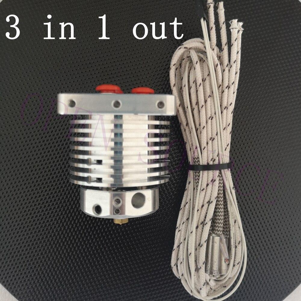 Mise à niveau 3D Imprimante Multi-extrusion 3 Dans 1 Out Hotend Multi Couleur Chaude Fin 0.4mm/1.75mm, 3 couleurs Extrudeuse Compatible Bouledogue, MK8