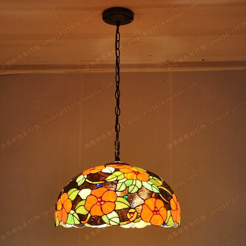 45CM European Rich Flowers Glass Chandelier Tiffany Restaurant Bar Pastoral  Art Lighting Fixtures Warm Entertainment Room